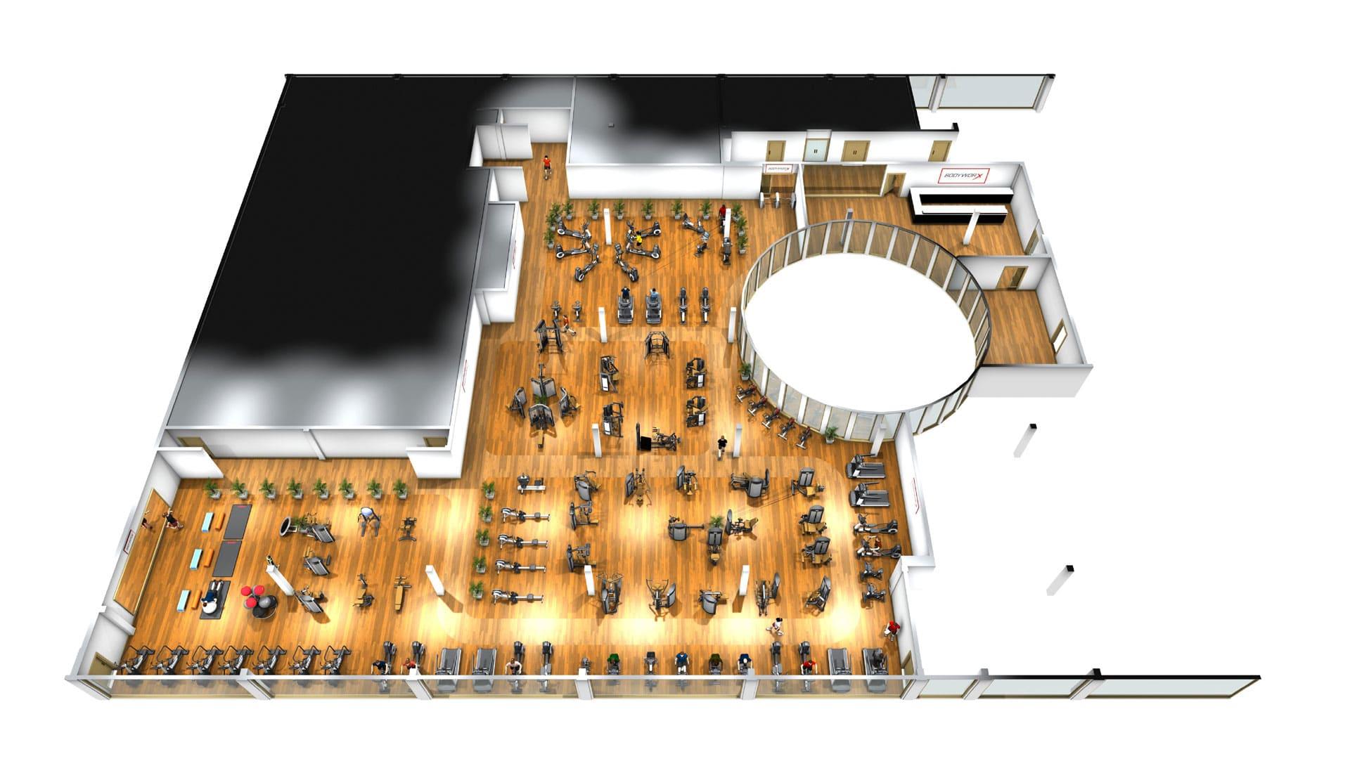 4-Towers | Plan Erdgeschoss | BodyWorx Steinhausen
